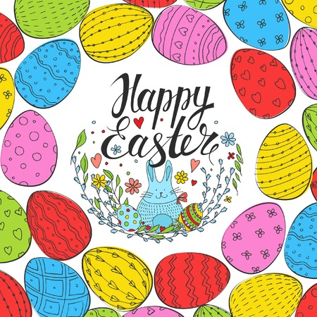 pussy willow: Easter Card. Template card with colorful Easter eggs and hare.