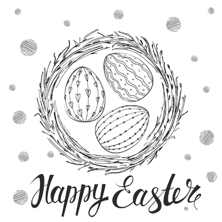 nest: Easter Card. Template card with nest and Easter eggs. Illustration