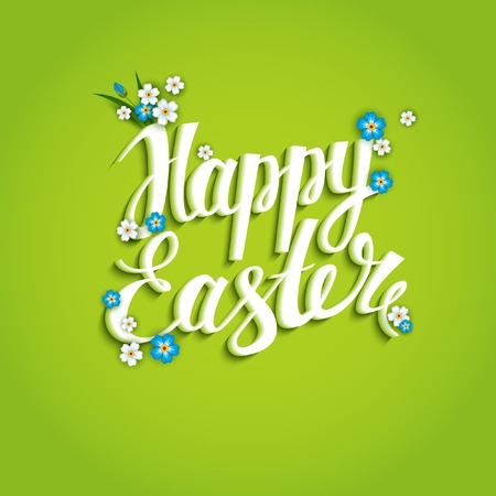 Easter Card. Template with inscription and flowers.
