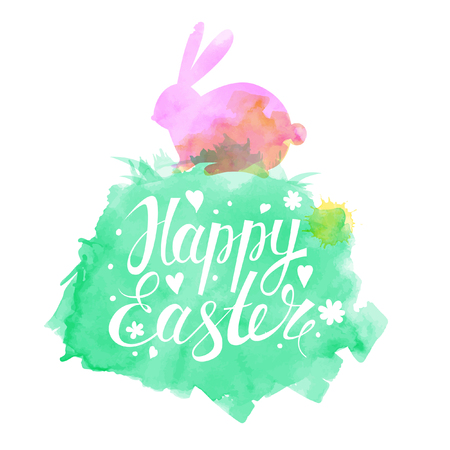 Bright Easter Card. Template card with Easter hare, grass and flowers.