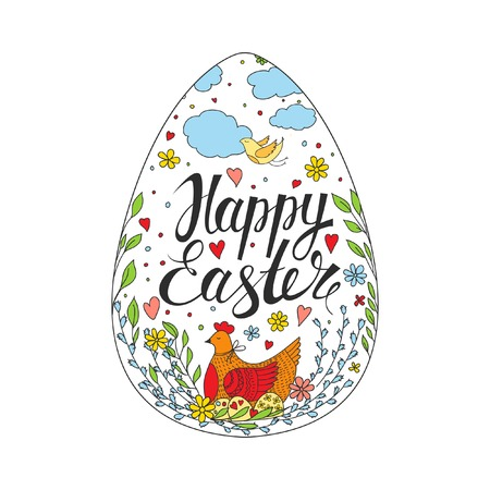 Easter Card. Template card with Easter eggs, chicken and flowers. Illustration