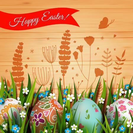 Tarjeta de Pascua. Tarjeta de la plantilla con los huevos de Pascua y flores. Ilustración de vector