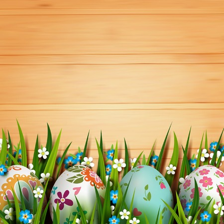 Easter Card. Template card with Easter eggs and flowers. Floral paints. Illustration