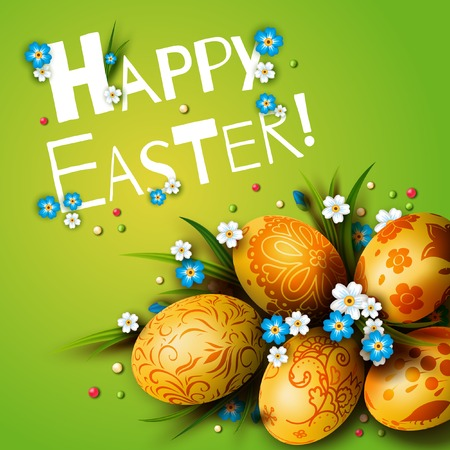 golden egg: Easter Card. Template card with Easter eggs and flowers.