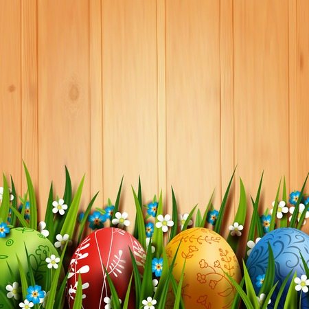 Realistic Easter eggs floral painting.