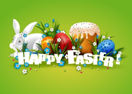 cartoon easter: Easter Card. Template with Easter eggs, rabbit and cake.