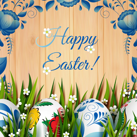 Easter Card. Template with Easter eggs and grass.