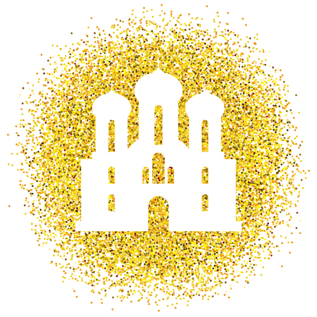 Happy Easter. Church. Vector golden background with glitter Illustration