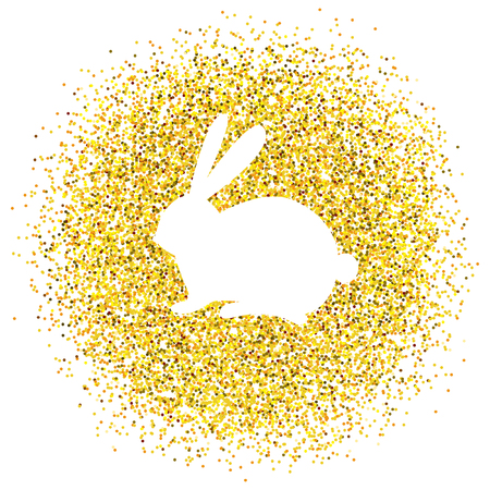Happy Easter. Vector golden background with glitter.