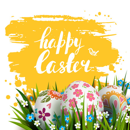 Easter Card. Template card with Easter colorful eggs, grass and flowers. Floral folk paints. Happy Easter. Vector background. Lettering, calligraphy. Handwriting inscription.