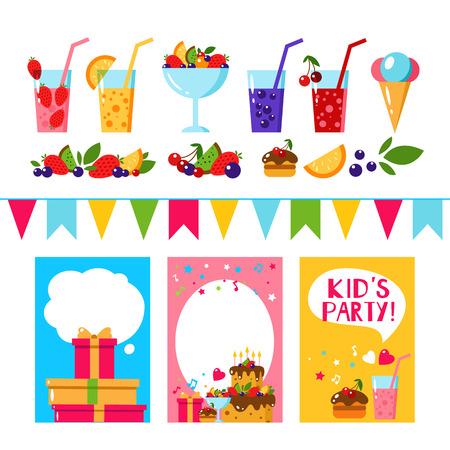 birthday party kids: Happy Birthday invitation card. Flat vector kids invitation. Kids party and kids Birthday invitation. Cake, gift, ice cream, fruit, flags garland, berry, juice, lemonade. Baby Birthday invitation. Illustration