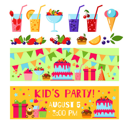 Happy birthday invitation card flat vector kids invitation happy birthday invitation card flat vector kids invitation kids party and kids birthday invitation filmwisefo