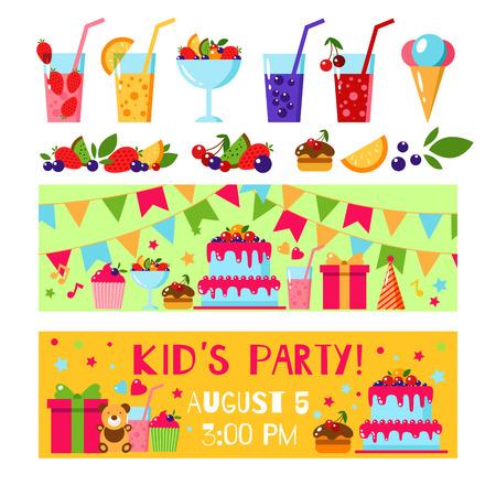 birthday invitation: Happy Birthday invitation card. Flat vector kids invitation. Kids party and kids Birthday invitation. Cake, gift, ice cream, fruit, flags garland, bear, juice, lemonade. Baby Birthday invitation.