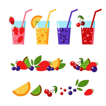 sweetened: Fruit smoothies detox. Healthy fresh detox juice. Vector flat. Fresh healthy juice. Organic raw shakes. Fruits, berries. Strawberry, kiwi, orange, cranberry, blueberry. Glass of juice. Detox smoothies.
