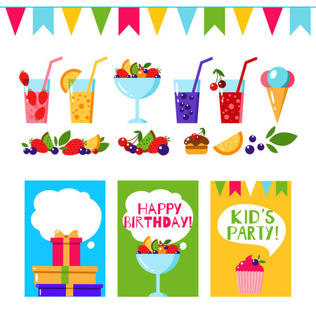 birthday invitation: Happy Birthday invitation card. Flat vector kids invitation. Kids party and kids Birthday invitation. Cake, gift, ice cream, fruit, flags garland, berry, juice, lemonade. Baby Birthday invitation. Illustration