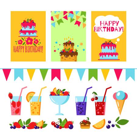 Happy Birthday invitation card. Flat vector kids invitation. Kids party and kids Birthday invitation. Cake, gift, ice cream, fruit, flags garland, berry, juice, lemonade. Baby Birthday invitation. Illustration