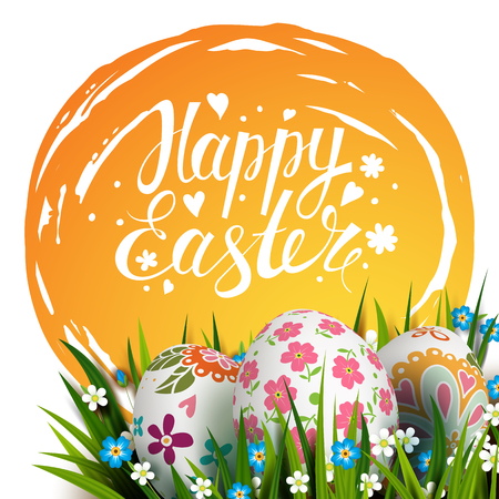 Easter Card. Template card with Easter colorful eggs, blue sky, grass and flowers. Floral folk paints. Happy Easter. Vector background. Lettering, calligraphy. Handwriting inscription.