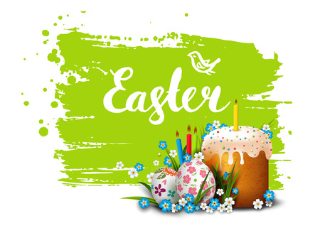 Easter Card. Template card with Easter colorful eggs, Easter cake, candles,  grass and flowers. Happy Easter. Vector background. Lettering, calligraphy. Handwriting inscription.