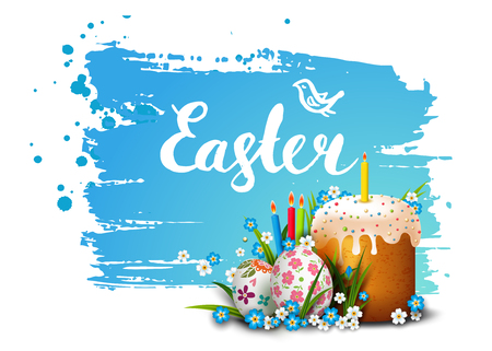 an easter cake: Easter Card. Template card with Easter colorful eggs, Easter cake, candles, blue sky, grass and flowers. Happy Easter. Vector background. Lettering, calligraphy. Handwriting inscription.