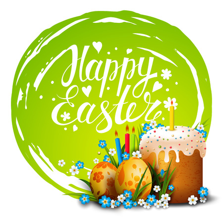 Easter Card. Template card with Easter golden eggs, Easter cake, candles, grass and flowers. Happy Easter. Vector background. Lettering, calligraphy. Handwriting inscription. Illustration