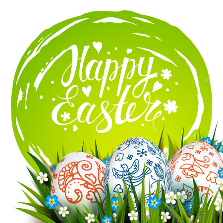 Easter Card. Template card with Easter colorful eggs, grass and flowers. Floral Russian folk paints. Happy Easter. Vector background. Lettering, calligraphy. Handwriting inscription. Illustration