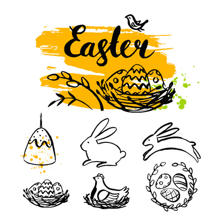 Vector Easter card and hand drawn Easter element. Happy Easter. Easter banner. Brush stroke. Modern calligraphy. Ink hand drawn inscription. Typography. Brush lettering. Easter bunny, eggs, chicken. Illustration