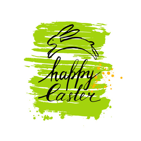 Vector Easter card. Hand drawn Easter bunny and inscription. Happy Easter. Easter banner. Brush stroke. Modern calligraphy. Ink hand drawn inscription. Typography. Brush lettering. Easter rabbit, hare.