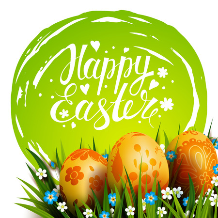Easter Card. Template card with Easter golden eggs, blue sky, grass and flowers. Floral Russian folk paints. Happy Easter. Vector background. Lettering, calligraphy. Handwriting inscription. Illustration