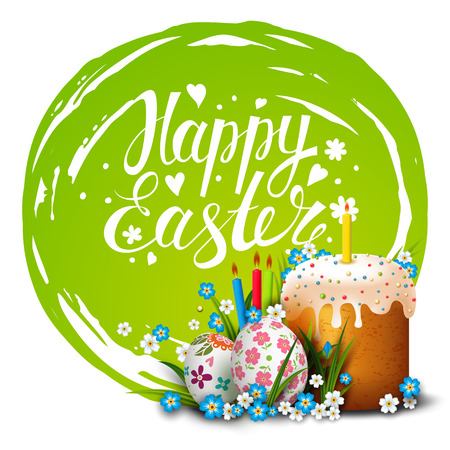 Easter Card. Template card with Easter colorful eggs, Easter cake, candles, blue sky, grass and flowers. Happy Easter. Vector background. Lettering, calligraphy. Handwriting inscription.