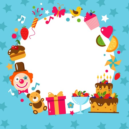 birthday party kids: Happy Birthday card. Flat vector illustration. Kids party and celebration design elements. Cake, gift, bear, clown, sweet, fruit, toy. Baby Birthday frame. Kids Birthday. Kids holiday.