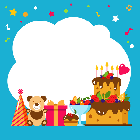Happy Birthday card. Flat vector illustration. Kids party design elements cake, gift, cap, sweet, fruit, toy, bear. Baby Birthday invitation. Kids Birthday, holiday. Frame. Invititation.