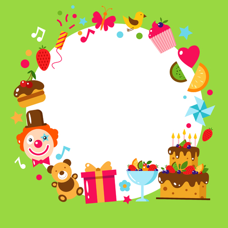 birthday party kids: Happy Birthday card. Flat vector illustration. Kids party and celebration design elements. Cake, gift, cap, clown, sweet, fruit, clown. Baby Birthday frame. Kids Birthday. Kids holiday.