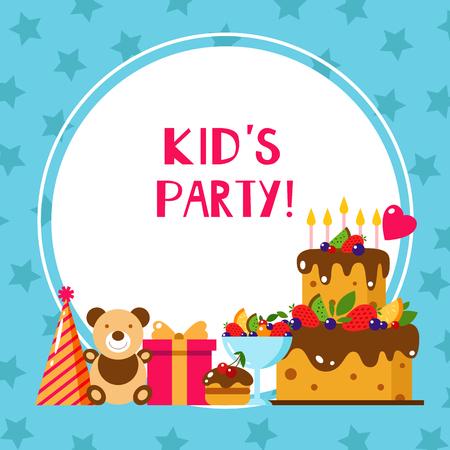 Happy Birthday card. Flat vector illustration. Kids party and celebration design elements. Cake, gift, cap, sweet, fruit, toy, bear. Baby Birthday invitation. Kids Birthday, holiday. Frame.