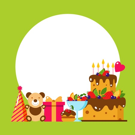 Happy Birthday card. Flat vector illustration. Kids party design elements. Cake, gift, cap, sweet, fruit, toy, bear. Baby Birthday invitation. Kids Birthday, holiday. Frame. Invititation.