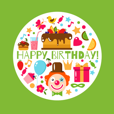 birthday party kids: Happy Birthday card. Flat vector illustration. Kids party and celebration design elements. Cake, gift, cap, clown, sweet, fruit, baloon. Baby Birthday frame. Kids Birthday. Kids holiday.