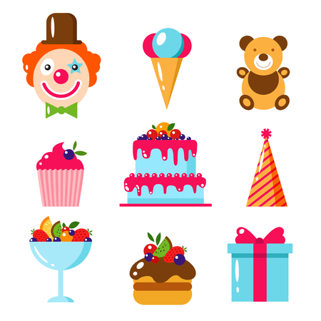baby bear: Happy Birthday set. Flat vector illustration. Kids party and celebration design elements. Cake, gift, cap, clown, sweet, fruit, ice cream, bear, toy. Baby Birthday frame. Kids Birthday, holiday.