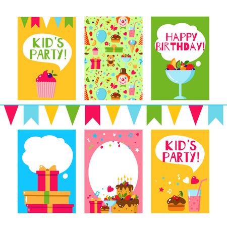 birthday party kids: Happy Birthday invitation card. Flat vector kids invitation. Kids party and kids Birthday invitation. Cake, gift, cap, heart, sweet, fruit, flags garland, bear, toy. Baby Birthday invitation.