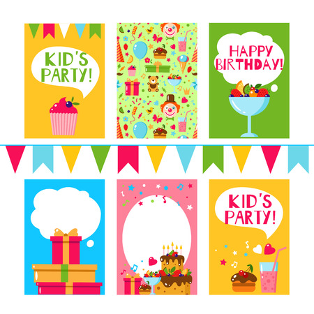 Happy Birthday invitation card. Flat vector kids invitation. Kids party and kids Birthday invitation. Cake, gift, cap, heart, sweet, fruit, flags garland, bear, toy. Baby Birthday invitation.