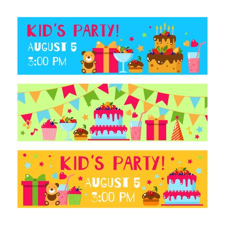 birthday party kids: Happy Birthday invitation card. Flat vector kids invitation. Kids party and kids Birthday invitation. Cake, gift, cap, ice cream, sweet, fruit, flags garland, bear, toy. Baby Birthday invitation.