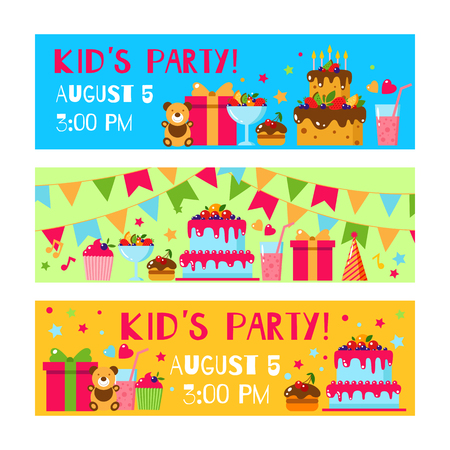Happy Birthday invitation card. Flat vector kids invitation. Kids party and kids Birthday invitation. Cake, gift, cap, ice cream, sweet, fruit, flags garland, bear, toy. Baby Birthday invitation.