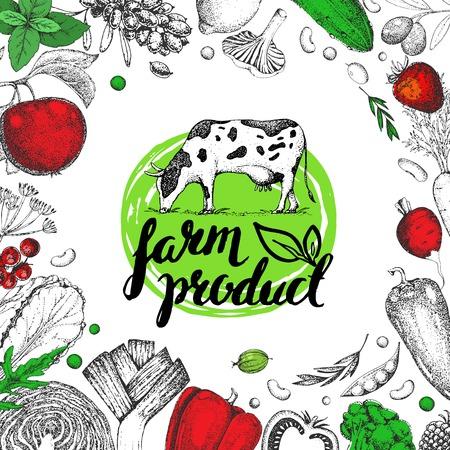 Farm food card. Vintage farm logo, vegetables, fruits, berries. Label. Engraving. Veggies, cow. Logotype. Hand drawn vector. Lettering. Farm, fresh, eco, raw, bio, organic, vegetarian. Farmers market. Illustration