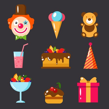 Happy Birthday set. Flat vector illustration. Kids party and celebration design elements. Cake, gift, cap, clown, sweet, fruit, ice cream, bear, toy. Baby Birthday frame. Kids Birthday, holiday.