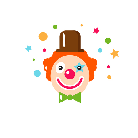Vector flat holiday background. Clown. Smile. Happy Birthday card. Kids party and celebration. Baby Birthday, Kids Birthday, holiday. Circus. Clown icon. Illustration