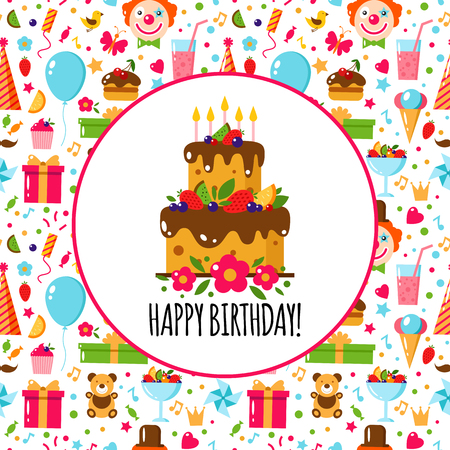 Vector Flat Birthday card on the seamless Birthday Pattern. Happy Birthday. Kids party and celebration design elements. Cake, gift, clown, toy, sweets, fruits, food. Birthday attributes. Kids holiday.