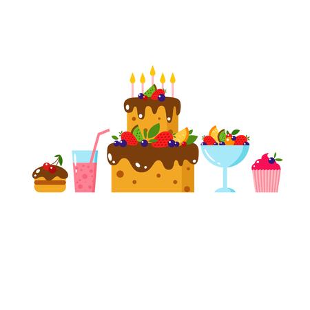 fruit cake: Happy Birthday card. Flat vector illustration. Kids party and celebration design elements. Cake, gift, donut, ice cream, sweet, fruit. Baby Birthday invitation. Kids Birthday. Kids holiday.