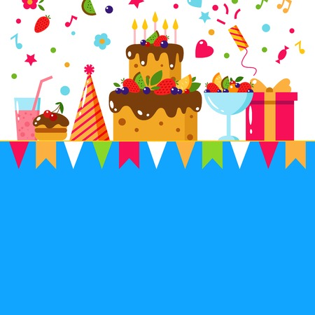 Happy Birthday card. Flat vector illustration. Kids party and celebration design elements. Cake, gift, cap, ice cream, sweet, fruit, flags. Baby Birthday invitation. Kids Birthday. Kids holiday. Illustration