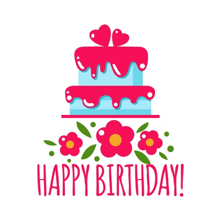 Vector flat background with cake and flowers. Holiday icon cake. Happy birthday, party. Greeting birthday card. Sweets, cake, wedding, celebrate, dessert, chocolate, food, baking. Birthday. Love, heart.