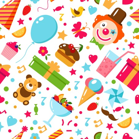 Seamless Birthday Pattern. Happy Birthday, vector flat illustration. Kids party and celebration design elements. Cake, gift, clown, toy, sweets, fruits, food. Birthday attributes. Kids holiday. Illustration