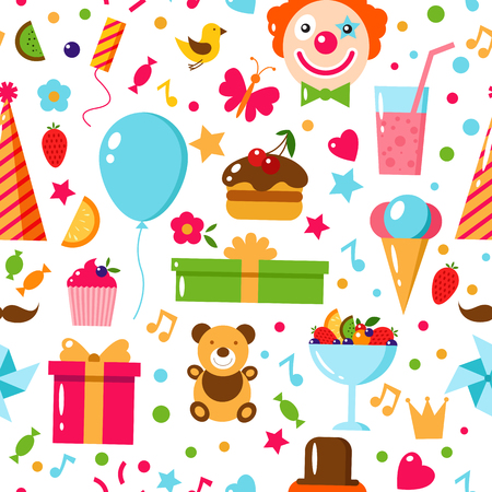 Seamless Birthday Pattern. Happy Birthday, vector flat illustration. Kids party and celebration design elements. Cake, gift, clown, toy, sweets, fruits, food.