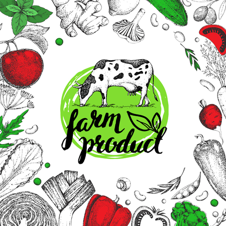 Farmers food design template. Vintage farm logo and vegetables. Labels and design elements in the style of engravings. Veggies, cow. Logotype.  Hand drawn vector illustration. Lettering.